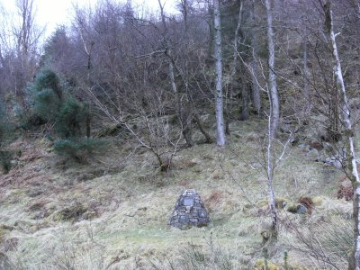 The cairn marking where Colin Roy Campbell was shot
